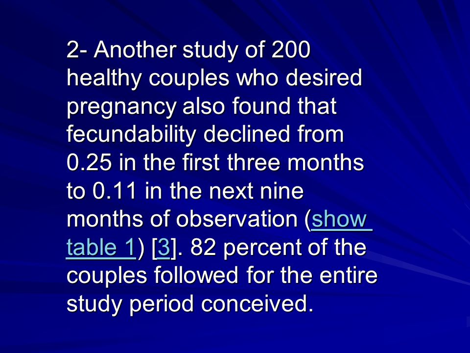 2- Another study of 200 healthy couples who desired pregnancy also found that fecundability declined from 0.25 in the first three months to 0.11 in the next nine months of observation (show table 1) [3].